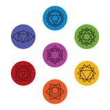 Sistema de siete símbolos del chakra Yoga, meditación Imagenes de archivo