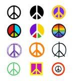 Sistema de signos de la paz Símbolos coloridos en diversos estilos Foto de archivo