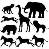 Sistema de siluetas africanas de los animales Imagenes de archivo