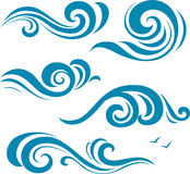 Sistema de siluetas azules decorativas de la onda Imagen de archivo
