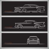 Sistema de siluetas clásicas del coche en estilo americano Fotografía de archivo libre de regalías