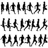 Sistema de siluetas. Corredores en sprint, hombres. vector Fotografía de archivo libre de regalías