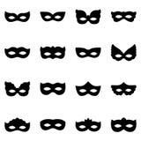 Sistema de siluetas de la máscara del carnaval, ejemplo Imagen de archivo libre de regalías