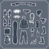 Sistema de siluetas de la ropa y del equipo de la snowboard Fotografía de archivo libre de regalías