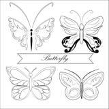Sistema de siluetas de las mariposas libre illustration