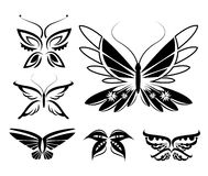Sistema de siluetas de las mariposas aisladas Foto de archivo