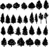 Sistema de siluetas de los árboles Fotografía de archivo