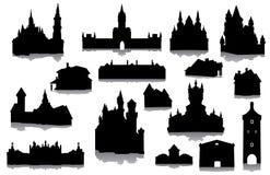 Sistema de siluetas de los edificios Foto de archivo libre de regalías