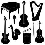 Sistema de siluetas de los instrumentos musicales Imagen de archivo libre de regalías
