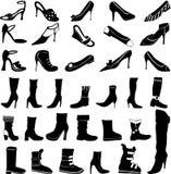 Sistema de siluetas de los zapatos Imágenes de archivo libres de regalías