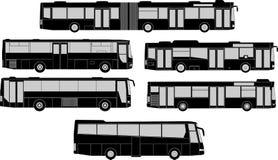 Sistema de siluetas del autobús Fotografía de archivo