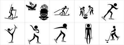 Sistema de siluetas del deporte de invierno Foto de archivo libre de regalías