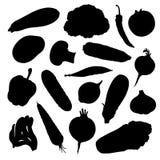 Sistema de siluetas del vector de verduras Fotografía de archivo libre de regalías