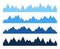 Sistema de siluetas inconsútiles de la montaña imagenes de archivo