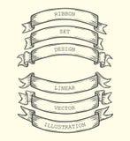 Sistema de siluetas de la cinta del vintage aisladas en fondo Plantillas del bosquejo del vector, objetos decorativos Fotos de archivo libres de regalías