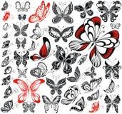 Sistema de siluetas de las mariposas Fotos de archivo libres de regalías
