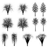 Sistema de siluetas de los árboles, arbustos Imagen de archivo libre de regalías