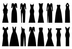 Sistema de siluetas de los vestidos de noche, ejemplo del vector Imagen de archivo libre de regalías