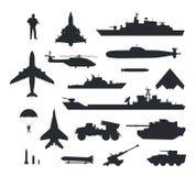 Sistema de siluetas militares del vector del armamento Fotografía de archivo libre de regalías