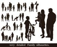 Sistema de siluetas muy detalladas de la familia. libre illustration
