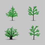 Sistema de siluetas negras de los árboles del vector con las hojas Foto de archivo libre de regalías