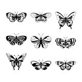 Sistema de siluetas negras de la mariposa Foto de archivo libre de regalías