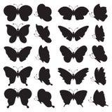 Sistema de siluetas negras de la mariposa Imagen de archivo libre de regalías