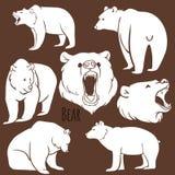 Sistema de siluetas salvajes del oso en el fondo Fotos de archivo