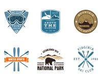 Sistema de Ski Club, etiquetas del parque nacional vendimia stock de ilustración