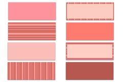Sistema de 8 sólidos rosados y de cubiertas temáticas de la cronología de Facebook de las rayas aislados en blanco Imagen de archivo libre de regalías