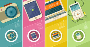 Sistema de smartphone del ordenador portátil de la exhibición stock de ilustración