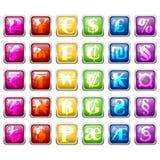 Sistema de símbolos de moneda en bloques coloridos de la teja Imagenes de archivo