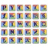 Sistema de símbolos de moneda en bloques coloridos planos Foto de archivo libre de regalías
