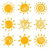 Sistema de símbolos handdrawn del sol Imagenes de archivo