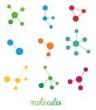 Sistema de símbolos multicolor de las moléculas Imágenes de archivo libres de regalías