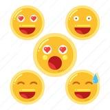Sistema de Smiley Face Emoji en el ejemplo plano del vector del icono del diseño libre illustration