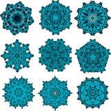 Sistema de snowflackes de las mandalas Fotografía de archivo libre de regalías