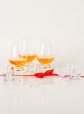 Sistema de sola malta que prueba los vidrios, solo whisky de malta en glas Foto de archivo libre de regalías