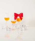 Sistema de sola malta que prueba los vidrios, solo whisky de malta en glas Fotografía de archivo libre de regalías