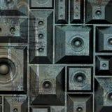 sistema de som velho do orador do grunge da composição 3d Imagem de Stock