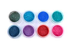 Sistema de sombras de ojos coloridas del polvo Foto de archivo libre de regalías