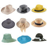 sistema de sombreros de la moda aislados en blanco fotografía de archivo libre de regalías