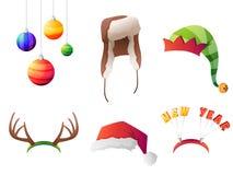 Sistema de sombreros de la Navidad del invierno del vector fijados Para el partido Imagen de archivo libre de regalías