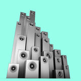 sistema de sonido del altavoz 3d en plata sobre azul Foto de archivo libre de regalías