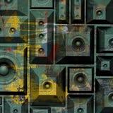 sistema de sonido del altavoz del grunge de la composición 3d viejo Fotos de archivo