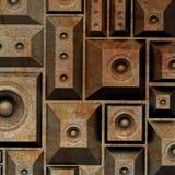 sistema de sonido del altavoz del grunge de la composición 3d viejo Fotos de archivo libres de regalías