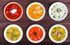Sistema de sopas de las cocinas mundiales, comida sana imagen de archivo libre de regalías