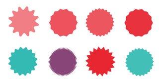 Sistema de starburst del vector, insignias del resplandor solar Escrituras de la etiqueta de la vendimia Etiquetas engomadas colo Fotografía de archivo