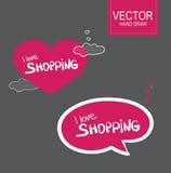 Sistema de Stiker del vector Quiero el hacer compras Foto de archivo libre de regalías