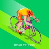 Sistema de Summer Games Icon del atleta del ciclista del ciclista del camino Stock de ilustración